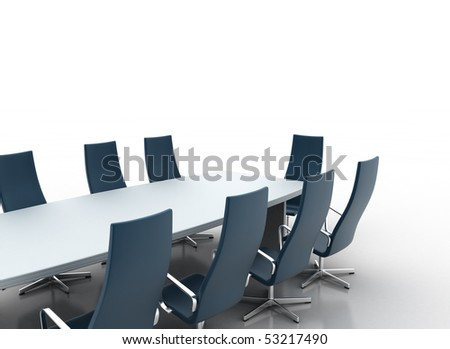 Business table isolated on white - stock photo