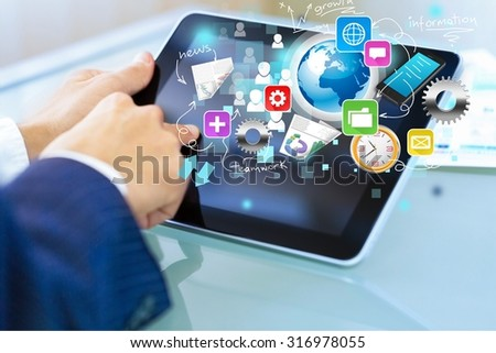 Business tablet. - stock photo