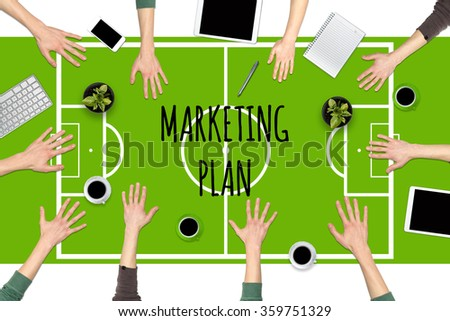 Business tactics. Concept of business tactics at the table as a football pitch