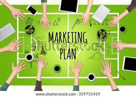 Business tactics. Concept of business tactics at the table as a football pitch - stock photo