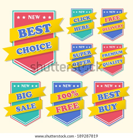 business tag set and sale label elements
