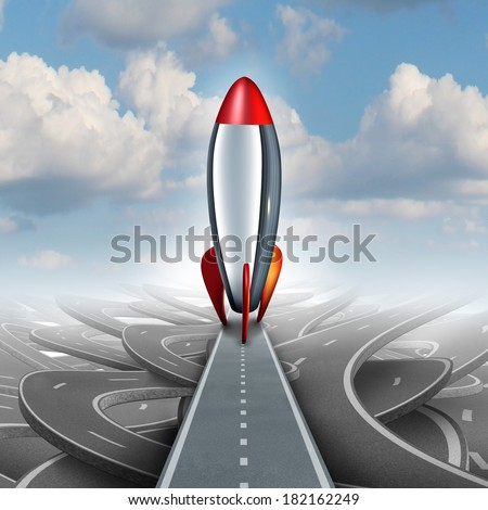 Business take off concept with a rocket ship on a straight road over a sky background of tangled streets as a freedom metaphor for escaping and taking an opportunity for higher financial success. - stock photo