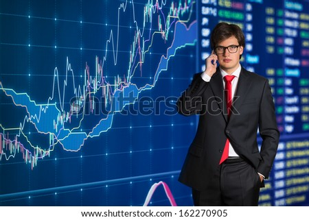 business talking on phone - stock photo