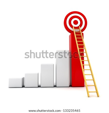 Business target concept , 3d business graph with wood ladder to the red target isolated over white background - stock photo