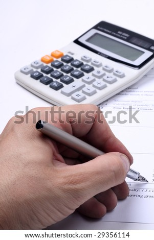 Business tax/income calculation - stock photo