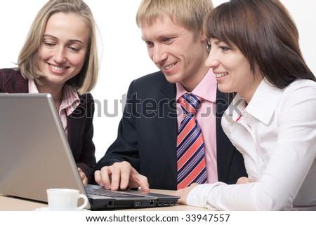 Business team, a businessman operates a computer - stock photo