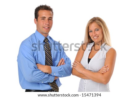 Business team a man and woman looking confident isolated on white - stock photo