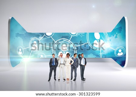 Business team against abstract room