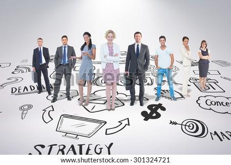 Business team against brainstorm - stock photo