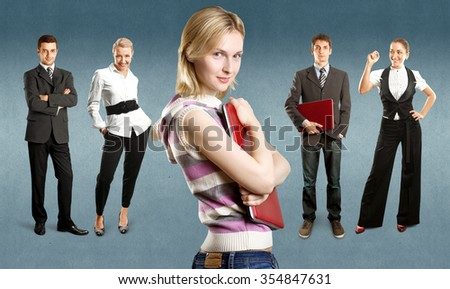 Business team against different backgrounds - stock photo