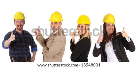 business team and construction worker on white background