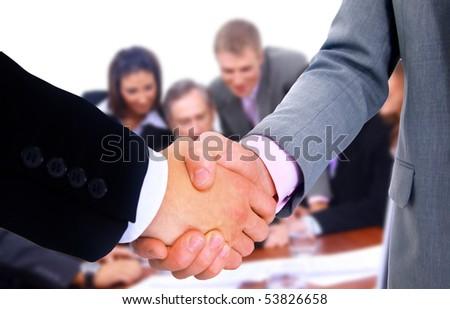 business team and handshake - stock photo