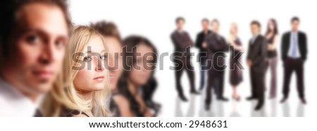 business team and its members are posing together - stock photo
