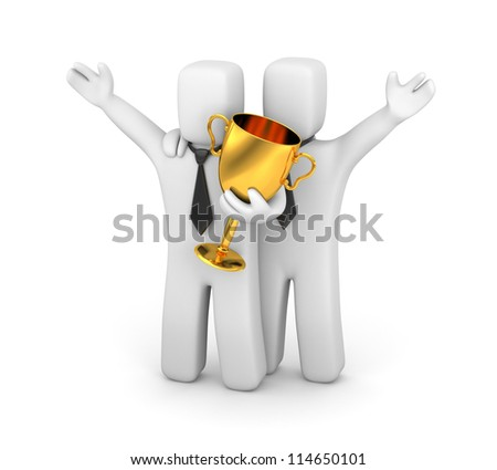Business team and prize - stock photo