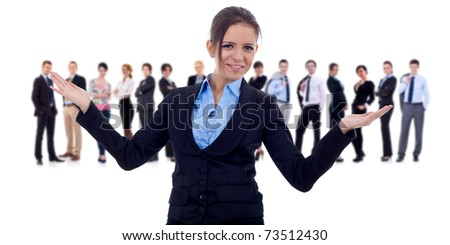 Business team and their leader. The leader is making a welcome gesture. Isolated - stock photo