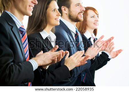 Business team applauding - stock photo