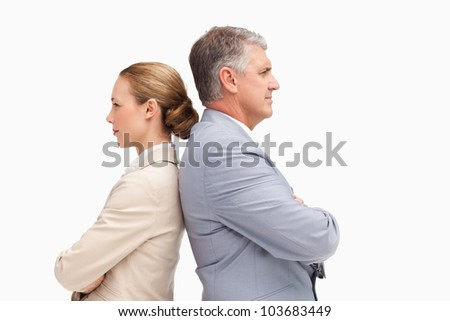Business-team back to back against white background - stock photo