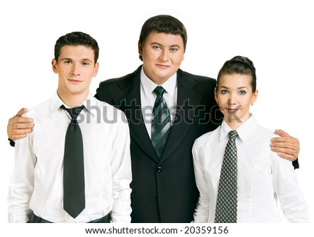 Business team. Boss is happy with the command - stock photo