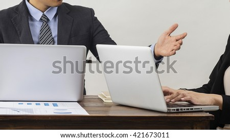 Business Team Brainstorming Data Target Financial Concept. Accounting and technology in office.Business people using laptop at office,Analyze plans.selective focus,vintage color