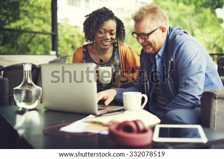 Business Team Cafe Working Meeting Concept - stock photo