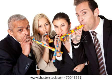 Business team celebrating birthday - stock photo