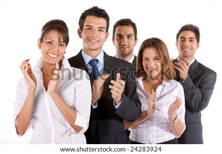 business team clapping and smiling isolated over a white background