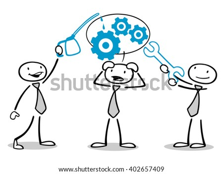 Business team coaching concept with cartoon men oiling gears
