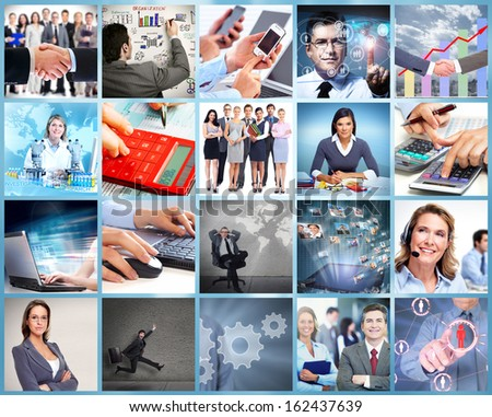 Business team collage. Group of people working in office.