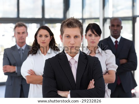 Business team colleagues standing in a row - stock photo