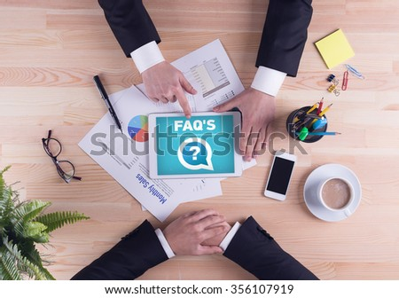 Business team concept - FAQ'S - stock photo