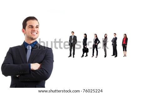 Business team concept. Leader in the front - stock photo