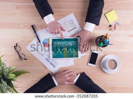Business team concept - OPPORTUNITY - stock photo