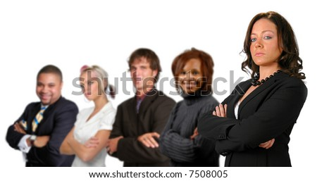 Business team concept with different men and women isolated over a white background.