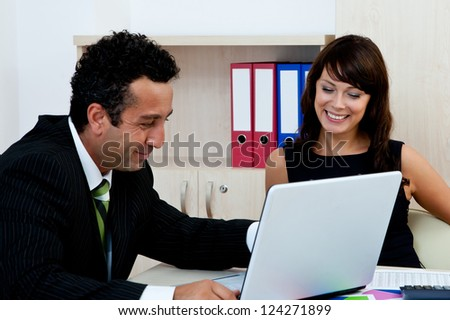 business team concept with young business people at office - stock photo