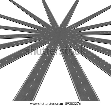 Business team connection symbol represented by a network of roads and highways merging to a center point showing teamwork and common goals vision and a clear path to a unified strategy. - stock photo