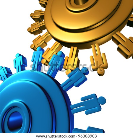 Business team cooperation with two wheels made of gears or cogs as human worker symbols connected in a network creating as a group new success in finances and politics on a white background. - stock photo