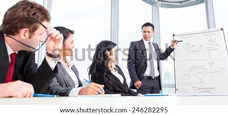 Business team discussing acquisition in meeting - stock photo