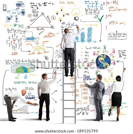 Business team drawing a new big project - stock photo