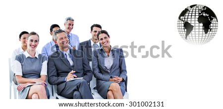 business team during a meeting against silver earth - stock photo