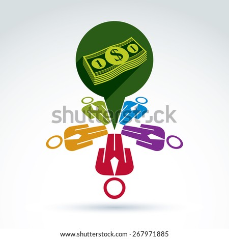 Business team earning money icon, vector conceptual unusual symbol for your design. - stock photo