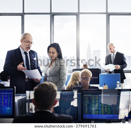 Business Team Finance Stock Exchange Busy - stock photo