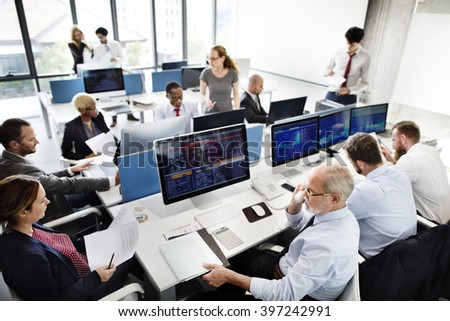 Business Team Finance Stock Exchange Busy Concept - stock photo