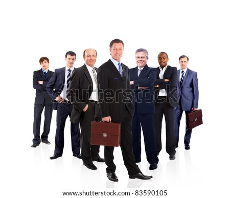 business team formed by young and old people - stock photo