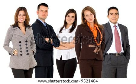 business team formed of young businessmen and businesswomen isolated over a white background