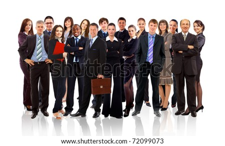 business team formed of young businessmen standing over a white background