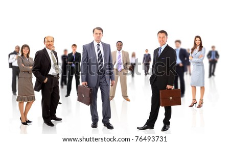 business team formed of young businessmen standing over a white background - stock photo
