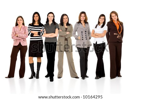 business team formed of young businesswomen standing over a white background with reflections - stock photo