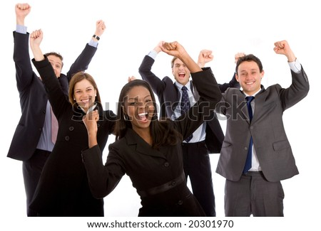 business team full of success isolated over a white background - stock photo