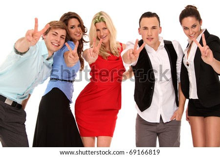 business team giving a victory sign
