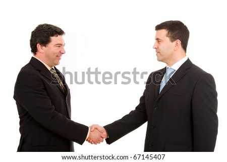 Business team hand shake. Isolated on white. - stock photo